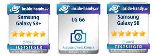Testsieger-Siegel Galaxy S8, Galaxy S8+ und LG G6
