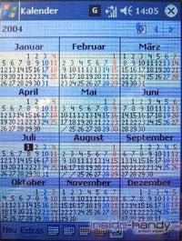 T-Mobile MDA 3 - Display Kalender Jahresübersicht