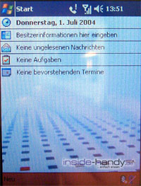 T-Mobile MDA 3 - Standard Bildschirm