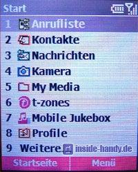 T-Mobile SDA music - Hauptmenü