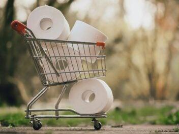 Toilettenpapier im Einkaufswagen