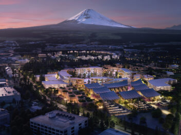 Woven City mit Mount Fuji von oben