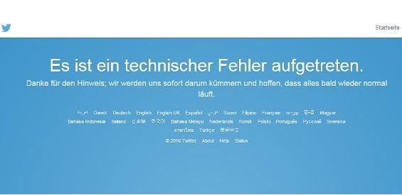 Twitter Ausfall-Meldung