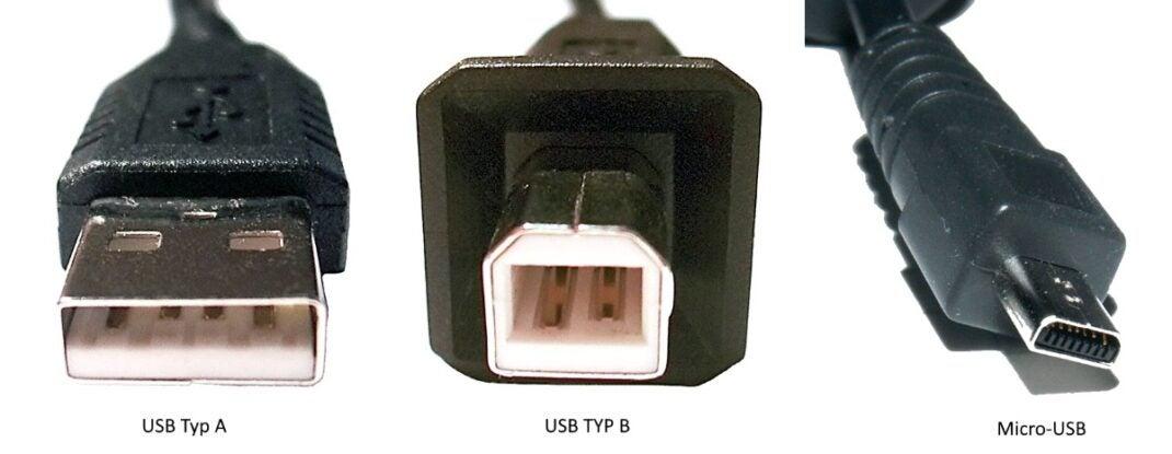 USB-Stecker in der Detail-Ansicht. Von links nach rechts: USB Typ A, USB Typ B und Micro-USB.