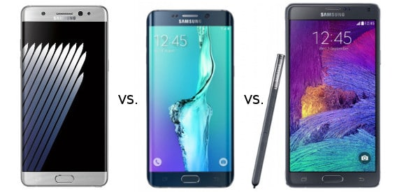 Vergleich Samsung Galaxy Note7, S6 Edge Plus, Note 4