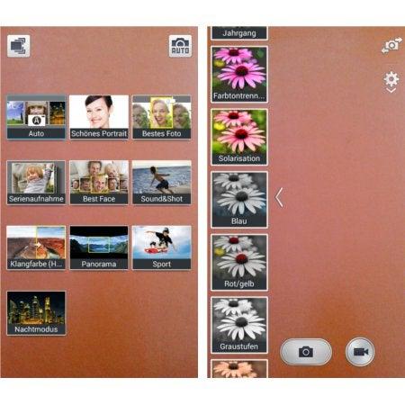 Verschiedene Einstellungsmöglichkeiten der Kamera-App des Samsung Galaxy S4