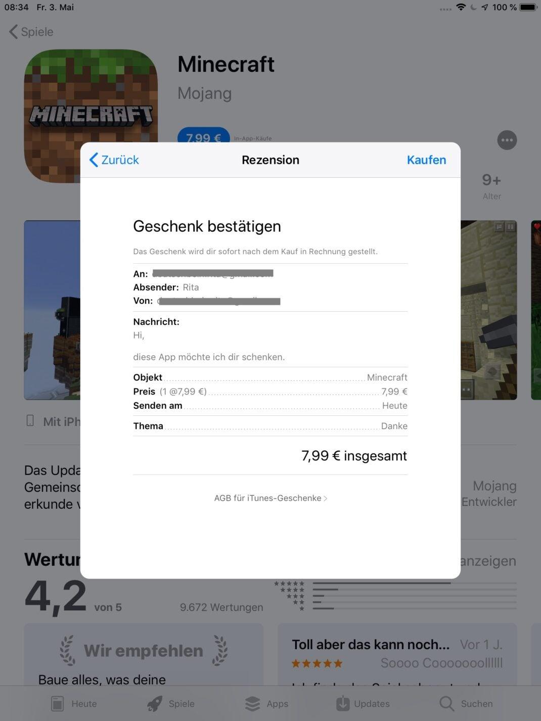 Übersicht aller Angaben für den App-Kauf.