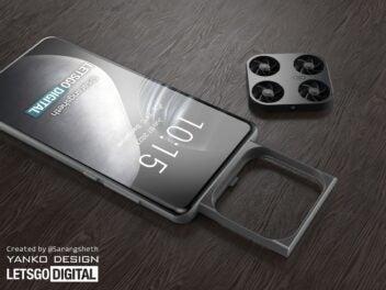 Fliegendes Kameramodul eines Vivo-Handys in einem Konzeptbild
