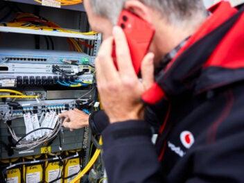 Vodafone-Techniker im Einsatz.