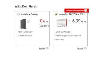 Hinweis-Text bei Vodafone