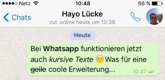 WhatsApp für iOS mit Formatierungen