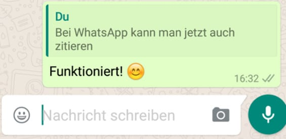 WhatsApp Funktion zitieren