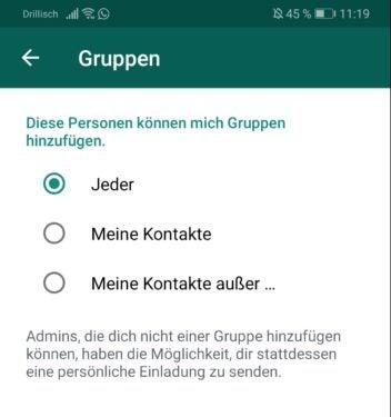 Gruppenchats bei WhatsApp kontrollieren