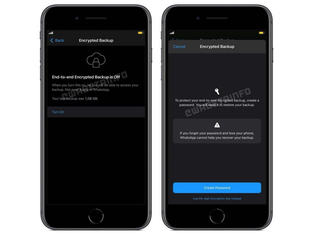 Screenshots der neuen Backup-Funktion in der Beta von WhatsApp