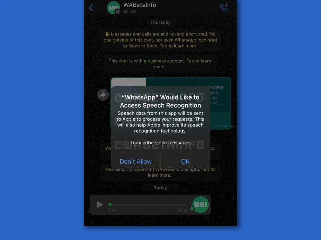 WhatsApp für iOS fragt um Erlaubnis zur Nutzung der Spracherkennung