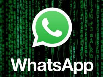 WhatsApp-Logo mit Matrix-Effekt