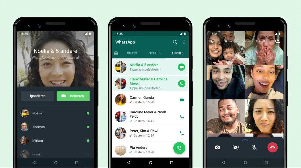 Neue Funktionen des WhatsApp Gruppenanrufs auf diversen Screenshots