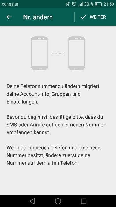 WhatsApp Nummer ändern