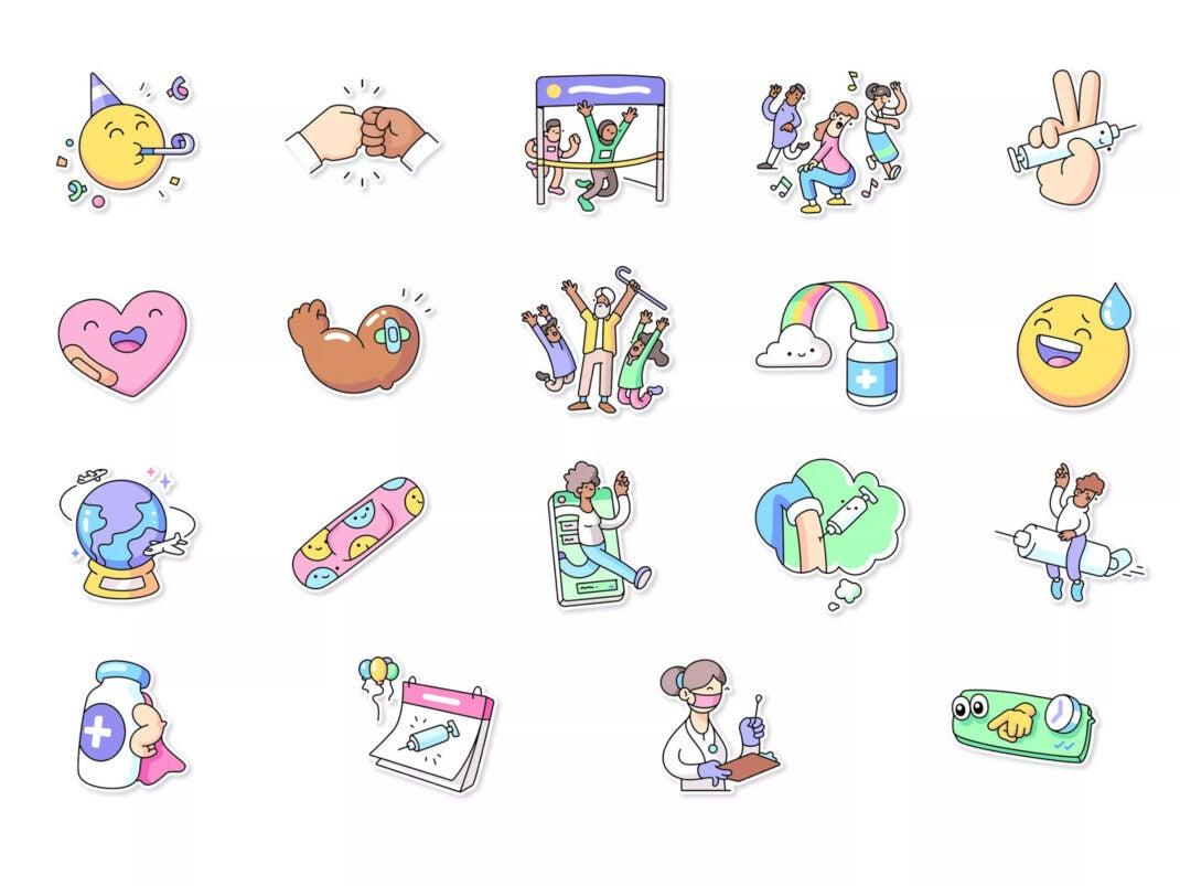 WhatsApp Sticker für die Corona-Impfung