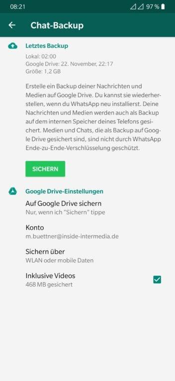 Screenshot der Sicherung von WhatsApp