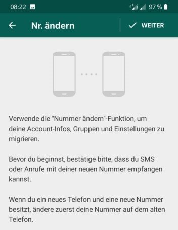 Screenshots des Einstellungsmenüs Telefonnnummer ändern in WhatsApp