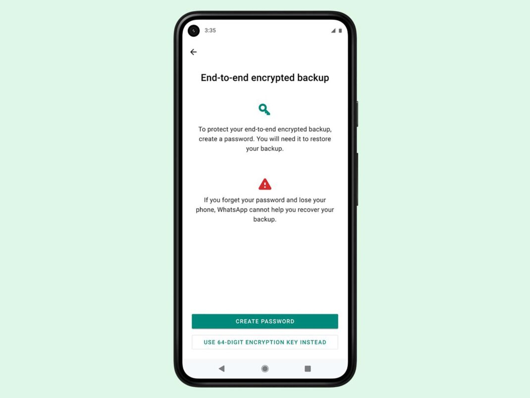 Screenshot der neuen Backup-Funktion von WhatsApp
