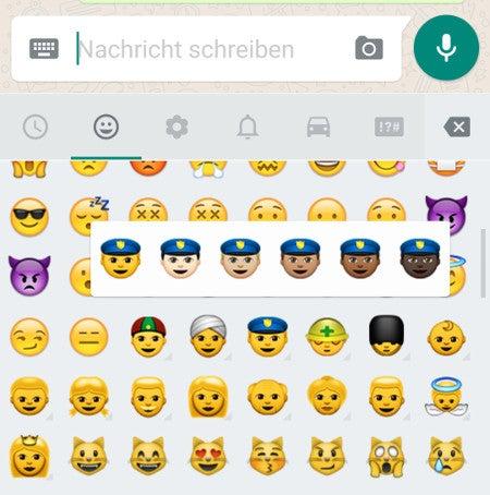 WhatsApp-Emojis in verschiedenen Hautfarben
