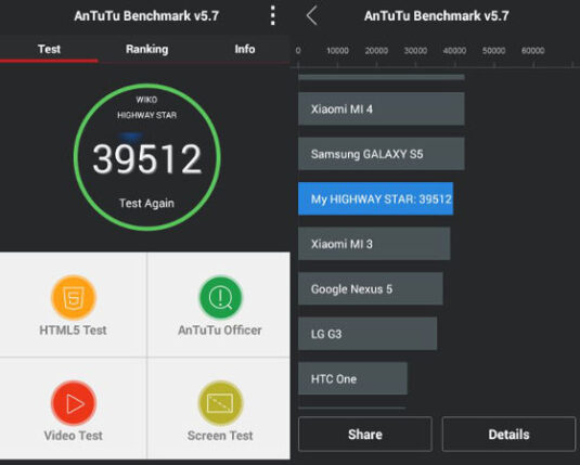 Wiko Highway Star im AnTuTu-Benchmark