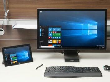 Windows 10 auf einem PC und einem Tablet