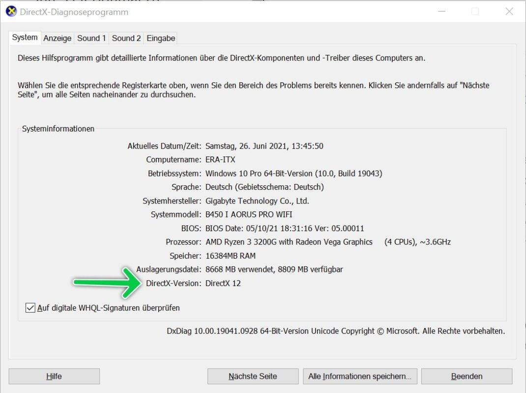 DirektX 12 Check für Windows 11
