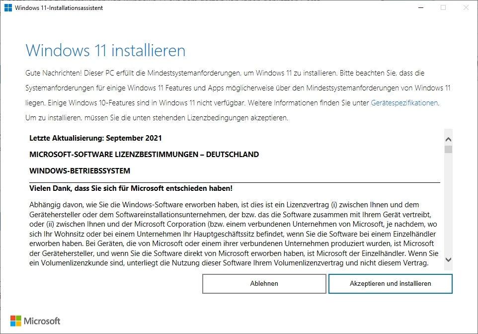 Der Installationsassistent von Windows 11