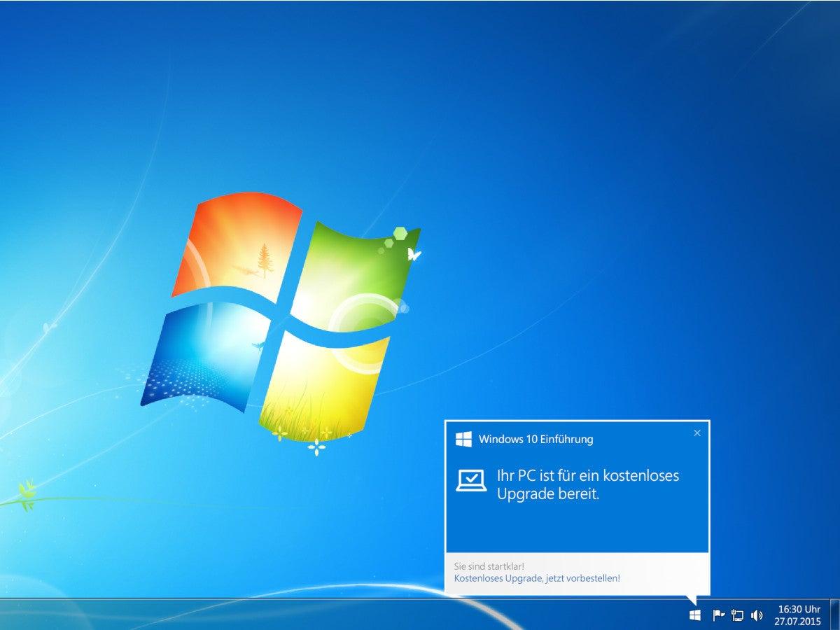 Windows 7 weist auf Windows 10 hin