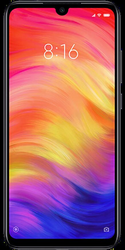 Das Xiaomi Redmi Note 7 in Schwarz in der Frontalansicht.