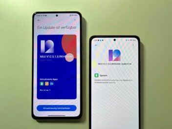 Zwei Xiaomi-Smartphones zeigen ein Software-Update an