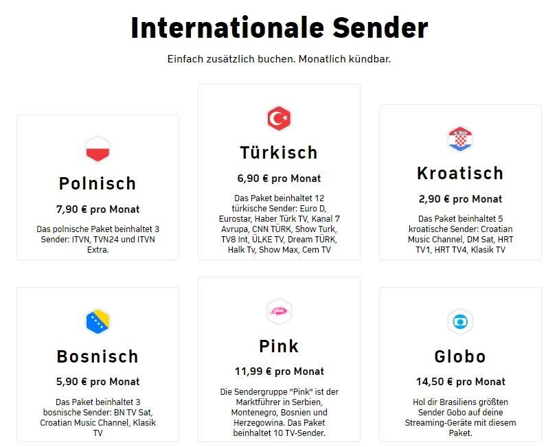 Zattoo internationale Sender(-Pakete)
