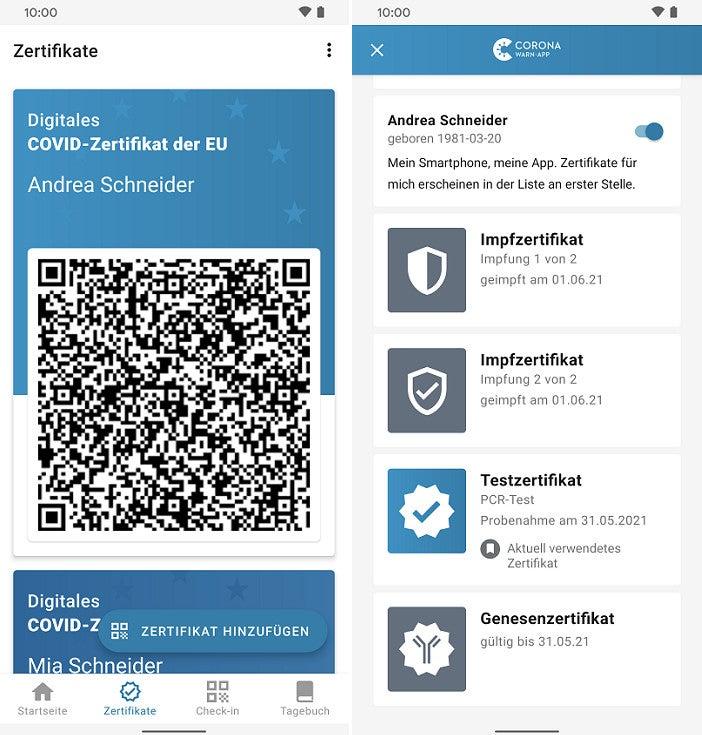 Screenshot davon, wie Zertifikate in der Corona-App gesammelt werden können